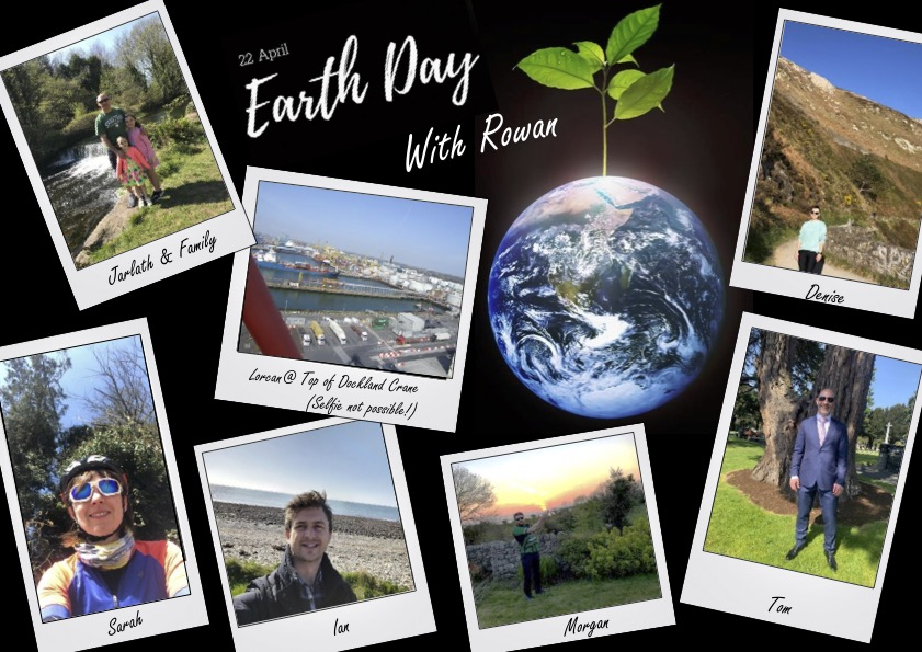 Pictures of the Rowan team celebration Earth Day outside