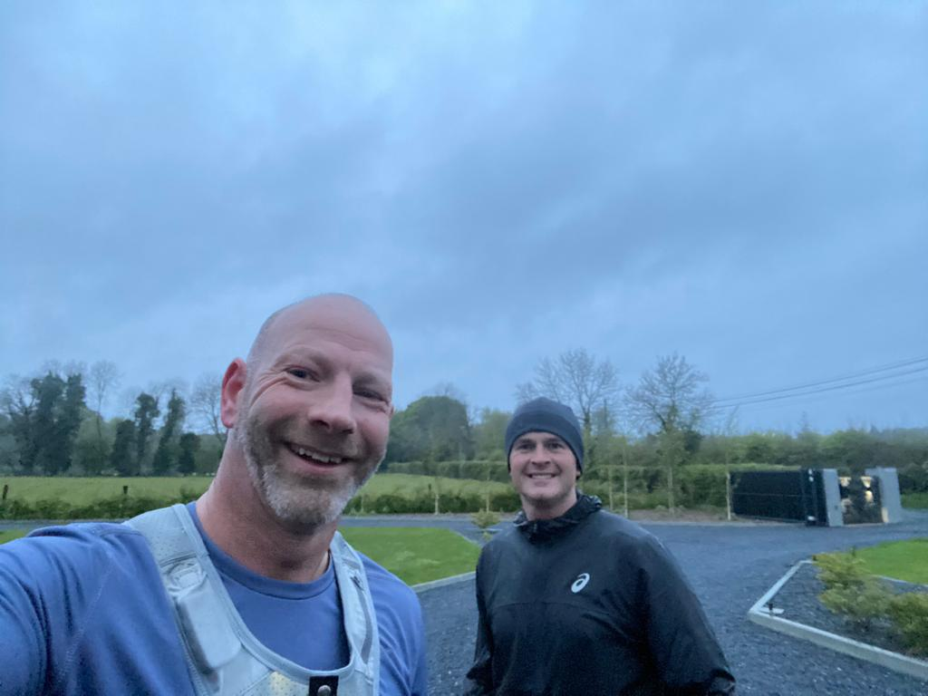 Tom Rowan (left) and John Brennan at the end of their Darkness into Light run